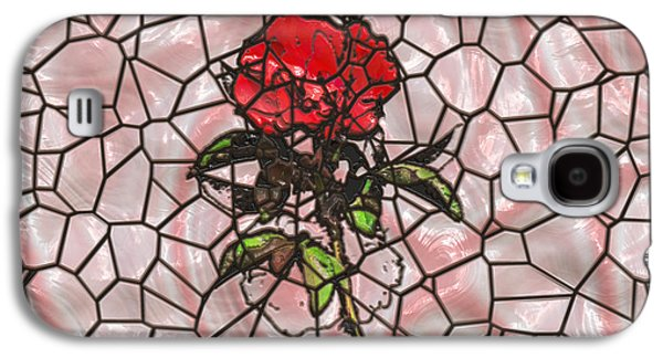 Abstract Forms Galaxy S4 Cases - A Rose on Stained Glass Galaxy S4 Case by John Bailey