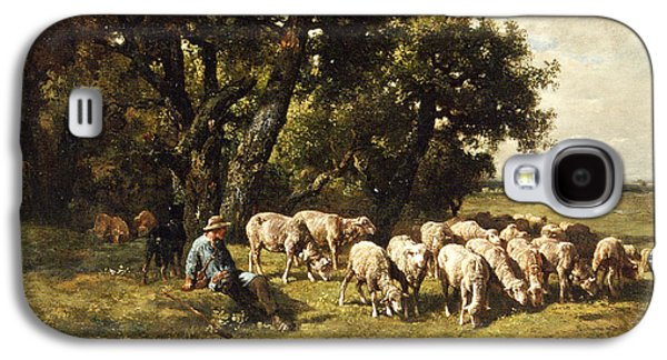 A Shepherd And His Flock Galaxy S4 Case by Charles Emile Jacques