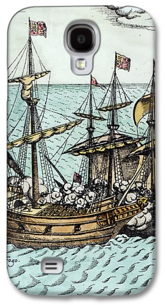 Pirate Ships Galaxy S4 Cases - A Spanish Treasure Ship Plundered by Francis Drake Galaxy S4 Case by Dutch School
