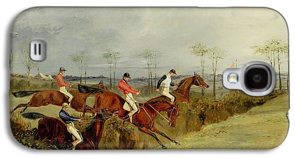 Jockeys Galaxy S4 Cases - A Steeplechase - Taking a Hedge and Ditch  Galaxy S4 Case by Henry Thomas Alken