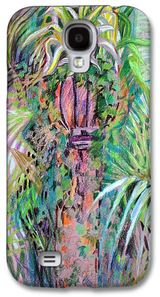 Lamp Post Mixed Media Galaxy S4 Cases - A Tropical Basket on a Post Galaxy S4 Case by Mindy Newman