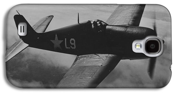 Jet Photographs Galaxy S4 Cases - A US Navy Hellcat Fighter Aircraft In Flight Galaxy S4 Case by American School