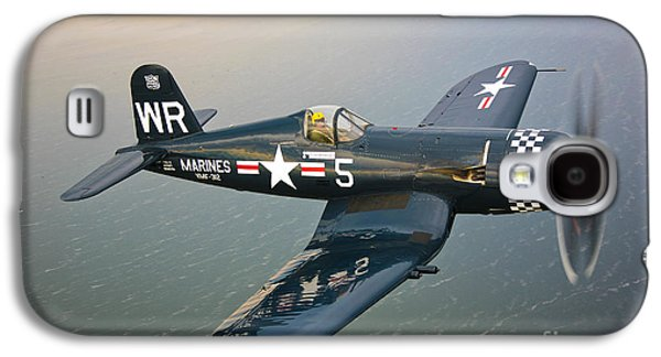 Fighters Galaxy S4 Cases - A Vought F4u-5 Corsair In Flight Galaxy S4 Case by Scott Germain