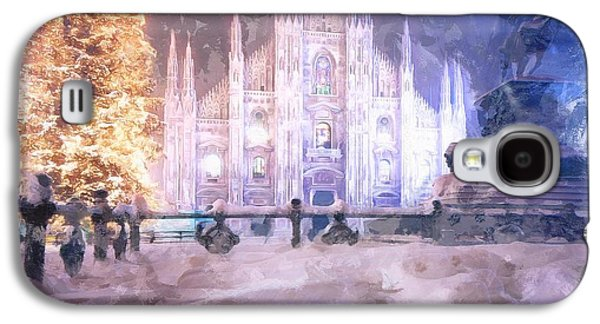 Photo Manipulation Paintings Galaxy S4 Cases - A Winter in Milan Galaxy S4 Case by Mario Carini