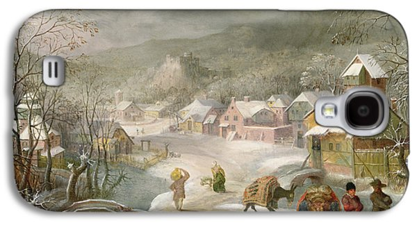 A Winter Landscape With Travellers On A Path Galaxy S4 Case by Denys van Alsloot