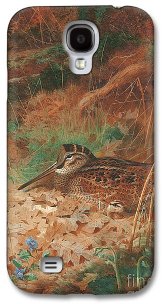 A Woodcock And Chick In Undergrowth Galaxy S4 Case by Archibald Thorburn