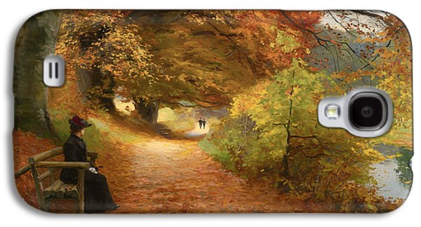 Beautiful Creek Paintings Galaxy S4 Cases - A Wooded Path In Autumn Galaxy S4 Case by H A Brendekilde