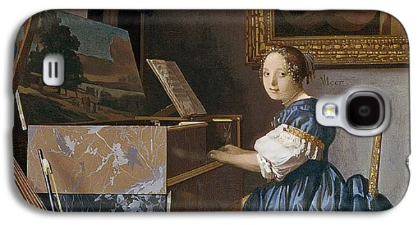 A Young Lady Seated At A Virginal Galaxy S4 Case by Jan Vermeer