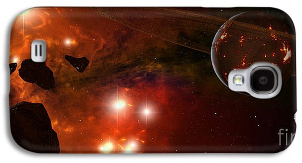 Planetoid Galaxy S4 Cases - A Young Ringed Planet With Glowing Lava Galaxy S4 Case by Frieso Hoevelkamp