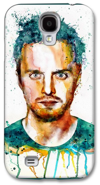 """""""square """" Mixed Media Galaxy S4 Cases - Aaron Paul as Jesse Pinkman watercolor Galaxy S4 Case by Marian Voicu"""