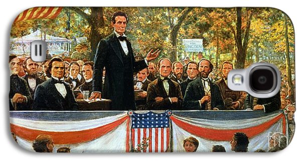 Politician Paintings Galaxy S4 Cases - Abraham Lincoln and Stephen A Douglas debating at Charleston Galaxy S4 Case by Robert Marshall Root