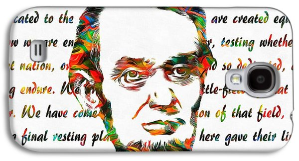 Slavery Mixed Media Galaxy S4 Cases - Abraham Lincoln Colorful Gettysburg Address Galaxy S4 Case by Dan Sproul