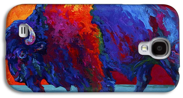 Wilderness Paintings Galaxy S4 Cases - Abstract Bison Galaxy S4 Case by Marion Rose
