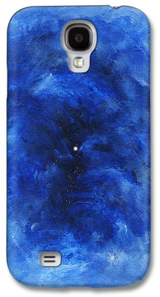 Constellations Paintings Galaxy S4 Cases - Abstract Dark Blue Night Galaxy S4 Case by Kathleen Wong