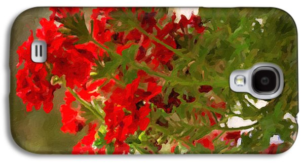 Botanical Galaxy S4 Cases - Abstract Geraniums in Red Galaxy S4 Case by Janice Rae Pariza