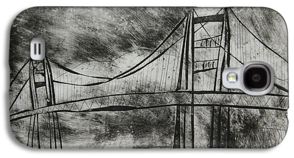 Creepy Galaxy S4 Cases - Abstract Golden Gate Bridge Black and White Dry Point Print Cropped Galaxy S4 Case by Marina McLain
