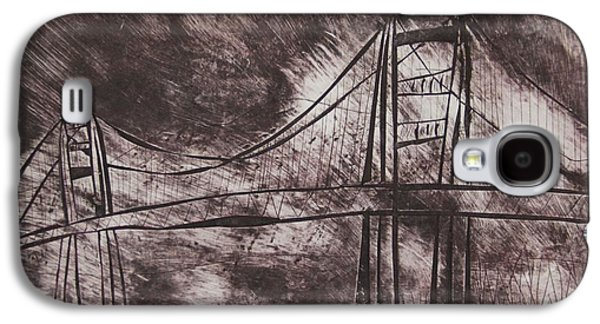 Creepy Galaxy S4 Cases - Abstract Golden Gate Bridge Dry Point Print Cropped Galaxy S4 Case by Marina McLain