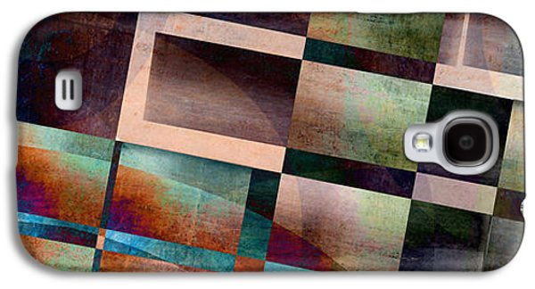 Blue Abstracts Galaxy S4 Cases - Abstract Lines and Shapes Galaxy S4 Case by Edward Fielding