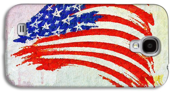 Abstract Painted American Flag Galaxy S4 Case by Stefano Senise
