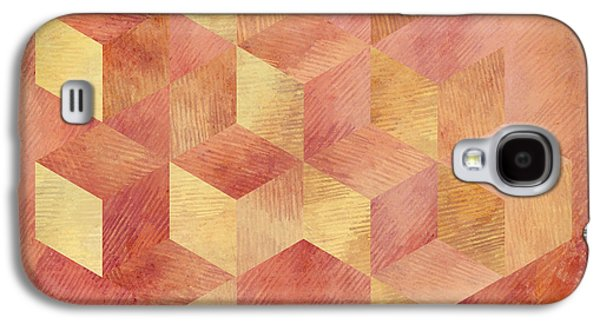 Abstract Red And Gold Geometric Cubes Galaxy S4 Case by Brandi Fitzgerald