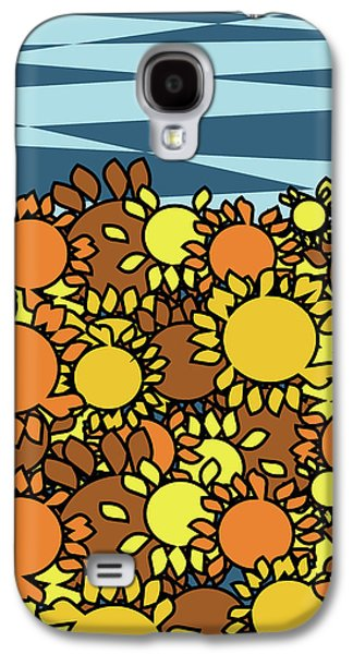 Nature Abstracts Galaxy S4 Cases - Abstract sunflowers field Galaxy S4 Case by Mihaela Pater