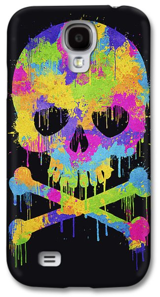 Hop Drawings Galaxy S4 Cases - Abstract Trendy Graffiti Watercolor Skull  Galaxy S4 Case by Philipp Rietz