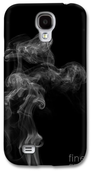 Angels Smoking Galaxy S4 Cases - Abstract Vertical Monochrome White Mood Colored Smoke Wall Art 04 Galaxy S4 Case by Alexandra K