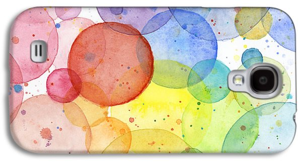 Design Paintings Galaxy S4 Cases - Abstract Watercolor Rainbow Circles Galaxy S4 Case by Olga Shvartsur
