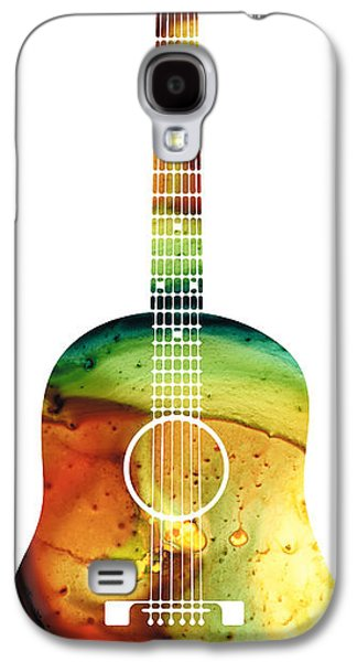 Music Mixed Media Galaxy S4 Cases - Acoustic Guitar - Colorful Abstract Musical Instrument Galaxy S4 Case by Sharon Cummings