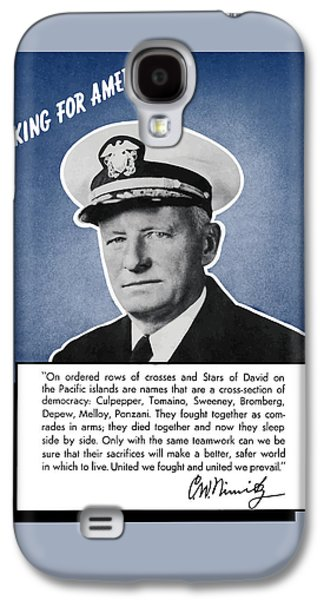 Admiral Nimitz Speaking For America Galaxy S4 Case by War Is Hell Store