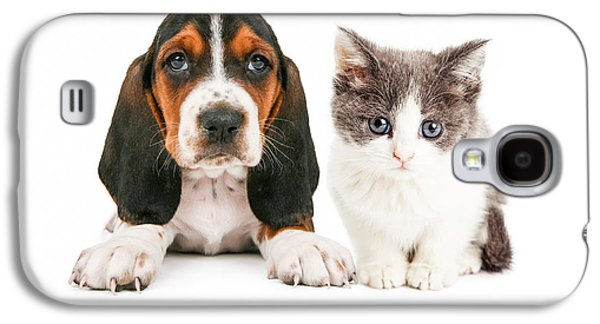 Adorable Photographs Galaxy S4 Cases - Adorable Basset Hound Puppy and Kitten Sitting Together Galaxy S4 Case by Susan  Schmitz