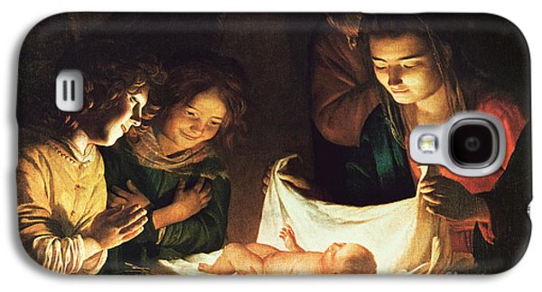 Christmas Cards - Galaxy S4 Cases - Adoration of the baby Galaxy S4 Case by Gerrit van Honthorst