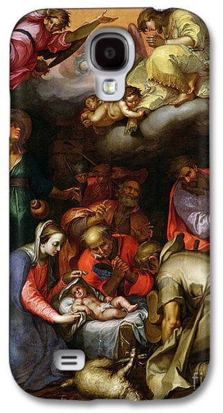 Manger Galaxy S4 Cases - Adoration of the Shepherds Galaxy S4 Case by Abraham Bloemaert