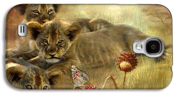 Lions Mixed Media Galaxy S4 Cases - Africa - Innocence Galaxy S4 Case by Carol Cavalaris