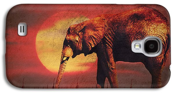 Best Sellers -  - Abstract Digital Mixed Media Galaxy S4 Cases - African elephant Galaxy S4 Case by Angela Doelling AD DESIGN Photo and PhotoArt