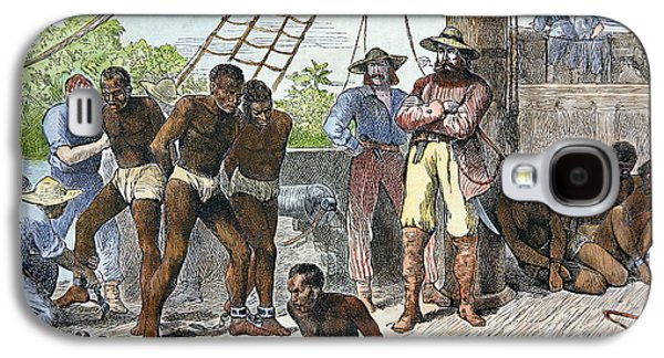 Slaves Drawings Galaxy S4 Cases - African slaves being taken on board ship bound for USA Galaxy S4 Case by American School