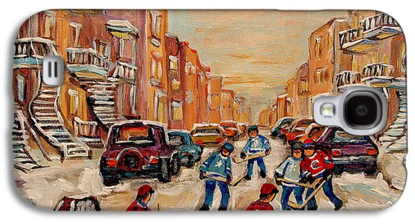 After School Hockey Paintings Galaxy S4 Cases - After School Hockey Game Galaxy S4 Case by Carole Spandau