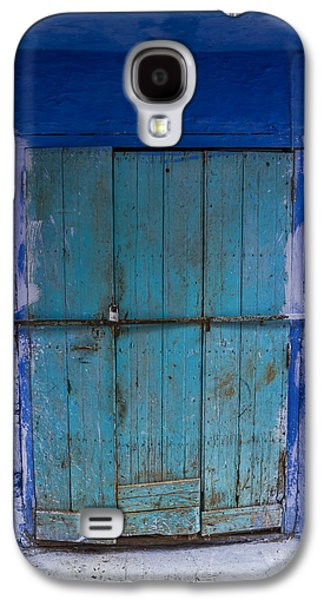 Ancient Galaxy S4 Cases - Aged Chefchaouen Door Galaxy S4 Case by Lindley Johnson