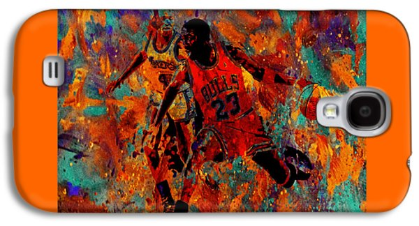 Dunk Mixed Media Galaxy S4 Cases - Air Jordan in the Paint 02a Galaxy S4 Case by Brian Reaves