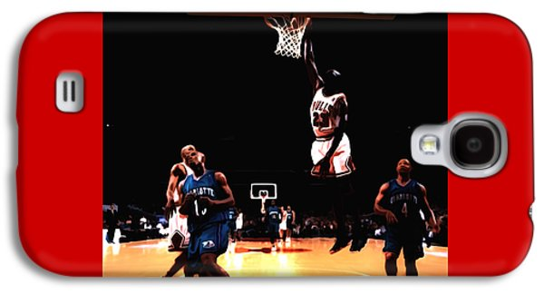 Dunk Mixed Media Galaxy S4 Cases - Air Jordan Spreading his Wings Galaxy S4 Case by Brian Reaves