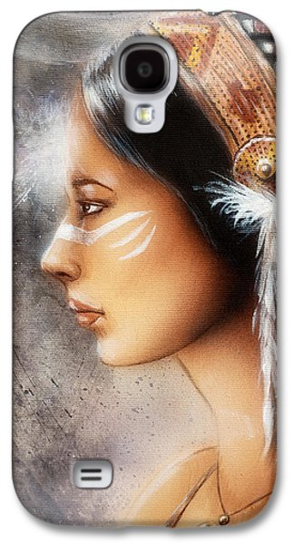 Native American Spirit Portrait Digital Galaxy S4 Cases - Airbrush Painting Of A Young Indian Woman. Profile Portrait Galaxy S4 Case by Jozef Klopacka