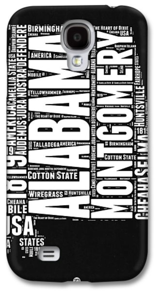 Alabama Word Cloud Black And White Map Galaxy S4 Case by Naxart Studio
