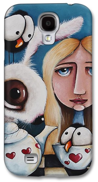 Crows Black Paintings Galaxy S4 Cases - Alice and the white rabbit Galaxy S4 Case by Lucia Stewart