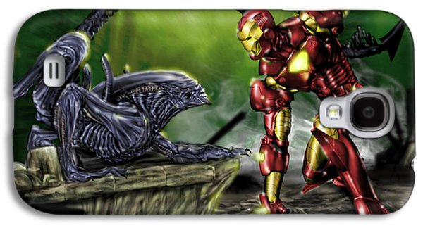 Pete Tapang Galaxy S4 Cases - Alien vs Iron Man Galaxy S4 Case by Pete Tapang
