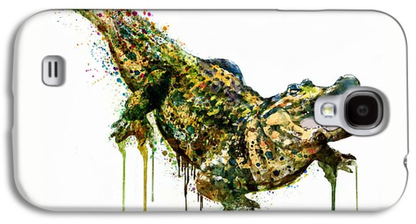 Reptiles Digital Galaxy S4 Cases - Alligator watercolor painting Galaxy S4 Case by Marian Voicu