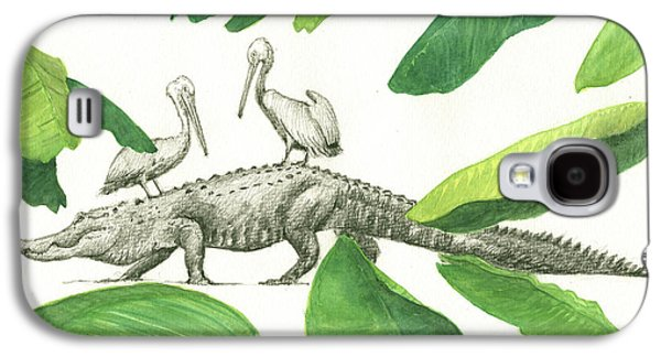 Alligator With Pelicans Galaxy S4 Case by Juan Bosco