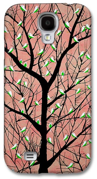 Flock Of Birds Paintings Galaxy S4 Cases - Almost Sunset aka Vriksh Vaig Galaxy S4 Case by Sumit Mehndiratta