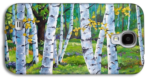 Canadiens Paintings Galaxy S4 Cases - Alpine flowers and birches  Galaxy S4 Case by Richard T Pranke