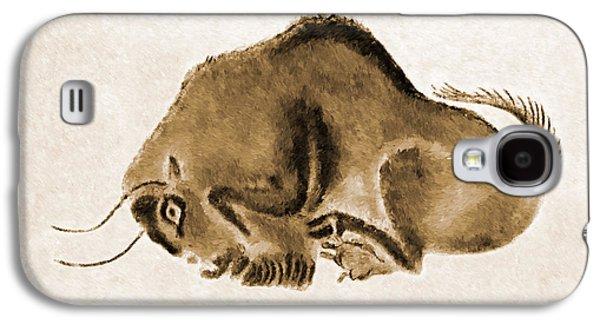 Bison Digital Galaxy S4 Cases - Altamira Prehistoric Bison at rest burned leather version Galaxy S4 Case by Weston Westmoreland