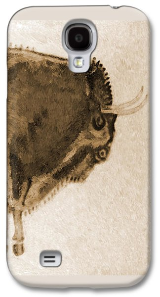 Bison Digital Galaxy S4 Cases - Altamira Prehistoric Bison burned leather Galaxy S4 Case by Weston Westmoreland